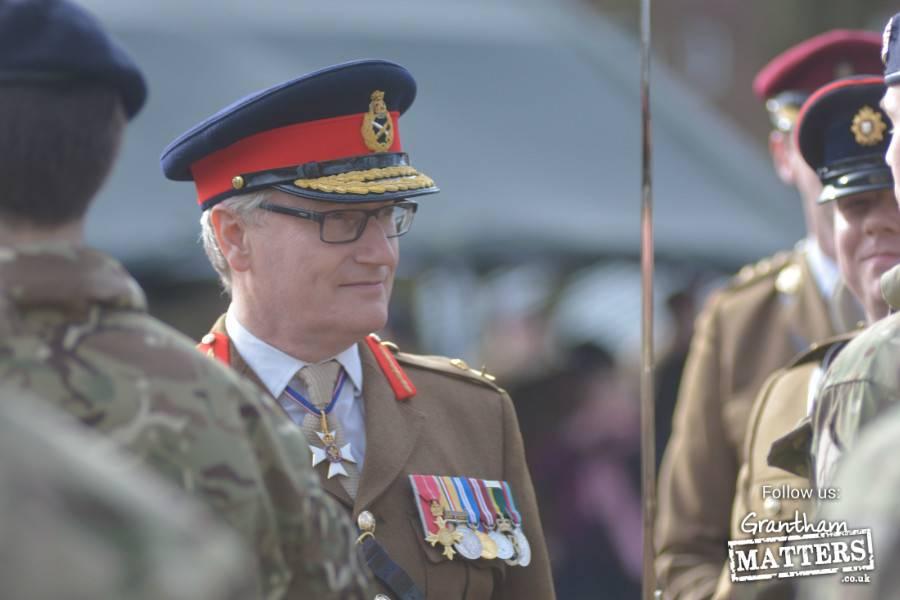 Army Training Unit Grantham passout Parade held at PWG Barracks Grantham reviewing Officer Major General S Brooks-Ward CVO OBE TD VR
