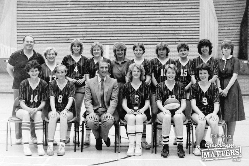 Grantham College Ladies Basket Ball team. Back - Mac Goodridge (coach) Chris Harwood, Di Sheardown Cathy Duller, Eileen Hardcastle, Fiona Lee, B7, Jo Slack,Anne Bass, B10; Front - Fiona Cousland, Lisa Goodridge, Terry Jones (Principal), Linda Powell, Sue Heppenstall & Linda Jory.
