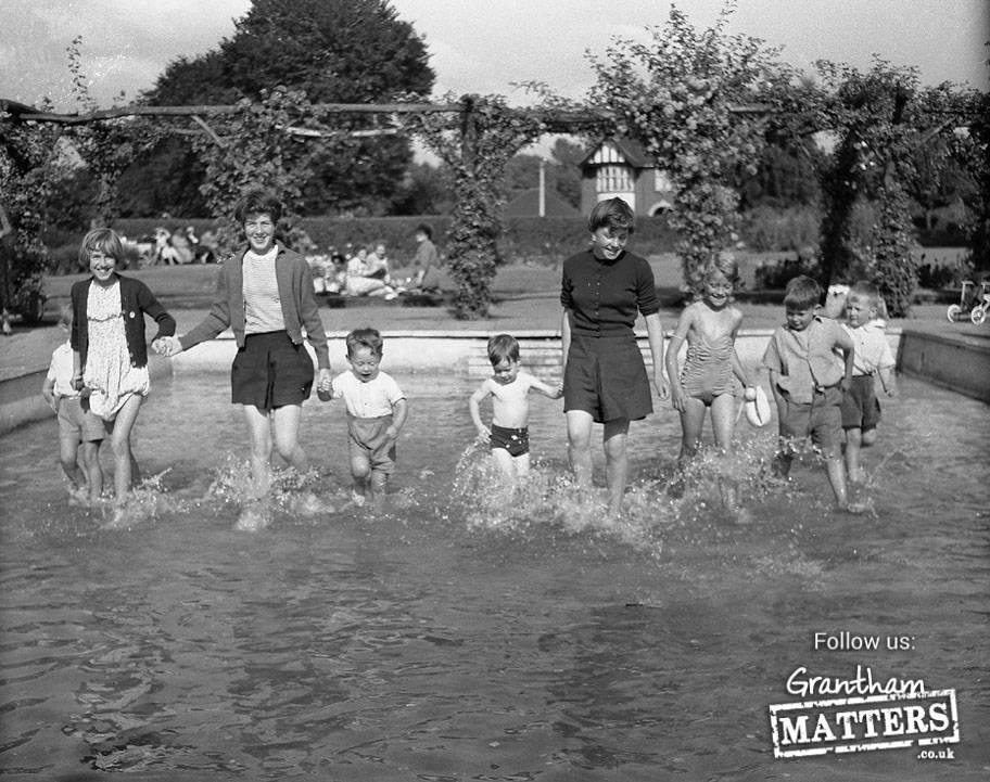 Splashing in Wyndham Park paddling pool